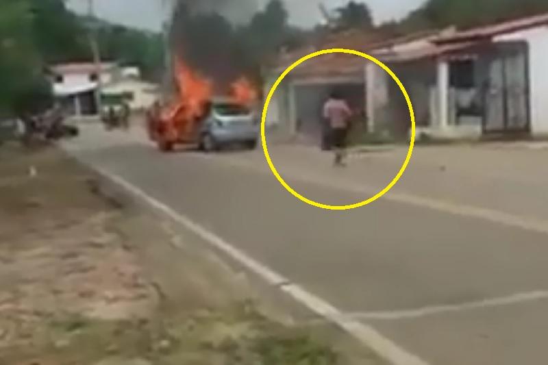 Homem ateia fogo em carro e morre queimado ao entrar no veículo no Ceará