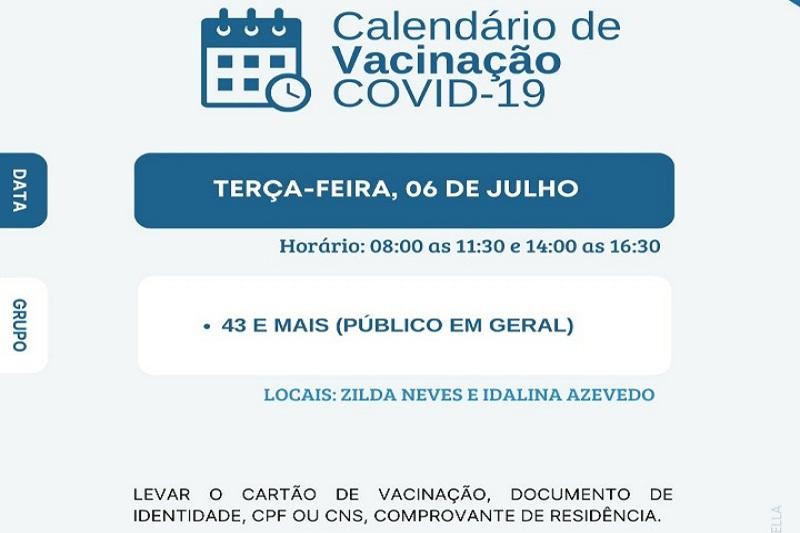 Vacinação em Brumado atende público de 43 anos e mais nesta terça (06)