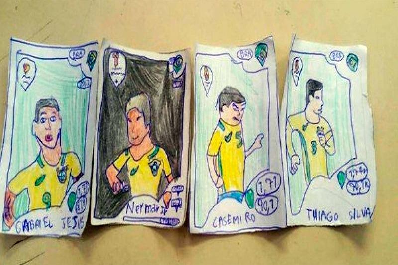 Sem dinheiro, menino pinta as próprias figurinhas da Copa do Mundo