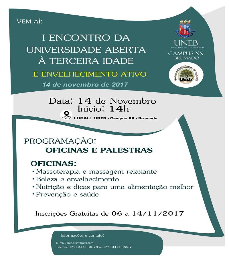 22c43569d0589 UNEB  Acontece nesta terça o 1º Encontro de Universidade Aberta à Terceira  Idade e Envelhecimento Ativo em Brumado